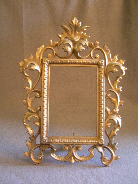 Vintage Art Nouveau Iron Vanity Picture/Mirror Frame w/Easel