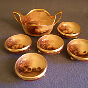 """Pickard China Hand Painted """"Nut Harvest"""" Serving Bowl w/5 Individual Cups"""