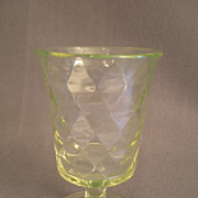 Vaseline (Uranium) Glass Pedestal Spoon Holder w/Inverted Diamond Pattern