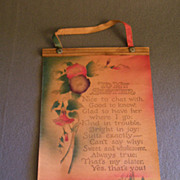 """SOLD Vintage Leather Wall-Hanging Poem """"To My Sister"""""""