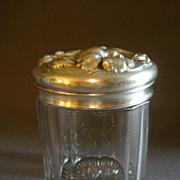 SOLD Art Nouveau Clear Glass 'Cigar Humidor' Jar w/Repousse Metal Lid