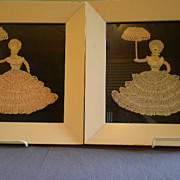 """Pair of Vintage Crocheted Pictures of """"Southern Belle"""" Ladies"""