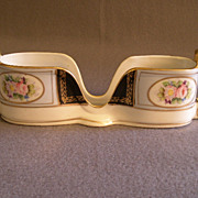 SOLD Vintage Noritake Hand Painted Spoon Holder w/Pastel Floral Cartouche  Motif