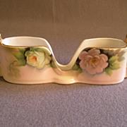 Vintage Noritake Hand Painted Spoon Holder w/Pastel PInk & Green Roses Motif