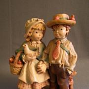 "Anri of Italy Limited Carving ""Boy & Girl Holding Hands"" 284/750 by Juan Ferrandiz"