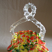 "Czechoslovakia Art Deco ""Spatter"" Glass Basket w/Clear Thorn Handle"
