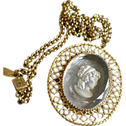Whiting & Davis Gold-Tone & Crystal Intaglio Cut Cameo Necklace