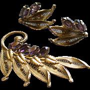 Alice Caviness Gold-Filled Filigree & Amethyst Rhinestones Brooch & Screw-Back Earrings