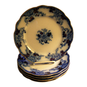 Burgess & Campbell Flow Blue 'Royal Blue' or 'Balmoral' Pattern Luncheon Plates