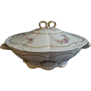 Theodore Haviland, France, Oval Covered Vegetable Bowl w/Floral Motif