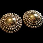 Israel Modernist Electroform Sterling Silver & Gold Vermeil Clip Earrings