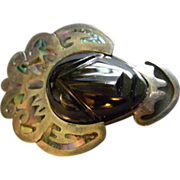 """""""Cheo"""" Mexican Sterling & Carved Onyx Aztec/Mayan Design Face Mask Brooch/Pendant"""