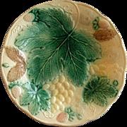Victorian Majolica Plate w/Grapes, Strawberries & Floral Motif