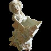 Art Nouveau Style Bisque Planter/Vase w/Young Girl Decoration