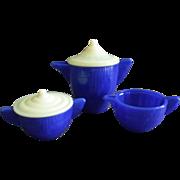 Akro Agate Children's Teapot, Covered Sugar & Creamer - Cobalt & White Colors