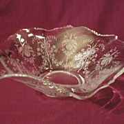 """Heisey Glass """"Orchid"""" Flared Serving Bowl - Waverly Blank #1519"""