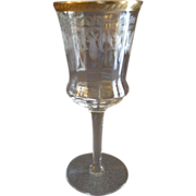 Set of 4 Tiffin Glass Co., Needle Etch, Stem #15028-1, Water Goblets w/Gold ...