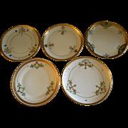 "Pickard Studio Hand Painted ""Russian Flowers"" Series, Group of 5 Dessert Plates"
