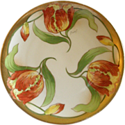 Limoges France Hand Painted Cabinet Plate w/Tulip Flowers Motif