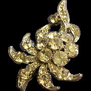 Eisenberg Ice Diamond Rhinestone Floral Motif Brooch