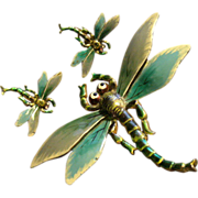 "SALE Walter Lampl Art Nouveau Style Enameled ""Dragonfly"" Brooch & Clip Earrings"