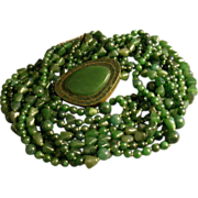 "SALE ""Celia Sebiri"" Vintage Eight-Strand Jade Bead Torsade Necklace w/Jade Clasp"
