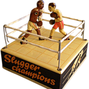 "SOLD Hans Biller Company, Germany, ""Slugger Champions"" Lithographed Tin Wind-Up Toy"