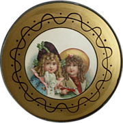 Antique Victorian Flue Cover Featuring Two Darling Nautical Clad Young Girls