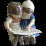 """Bing & Grondahl Porcelain of Boy & Girl """"Children Reading"""" Figurine #1567"""