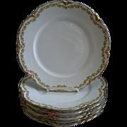 "Set of 6 Haviland & Co. Limoges ""Red Flowers & Green Leaves"" Pattern Dinner Plates -"