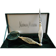 Vintage 'Neiman Marcus' Silver-Plated Letter Opener & Reading Glass in Fitted Box