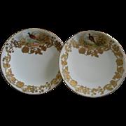 (Pair) Ovington Bros. New York H.P. Gold Encrusted Game Plates w/Pheasant Decoration