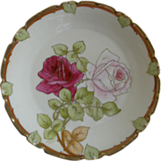 P T Bavaria Cabinet Plate w/Transfer Pink & Crimson Rose Blossoms Motif