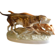 Royal Dux Porcelain Figurine - Pair of Hunting Dogs, Pointer & Retriever