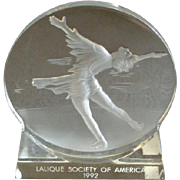 "Lalique Society of America 1992 Olympic Commemorative 'Skating"" Paperweight"