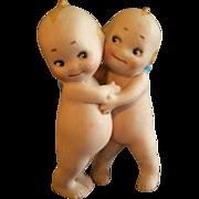 "Rose O'Neil Bisque ""Kewpie Huggers"" Figure - 3 1/2"" Tall"
