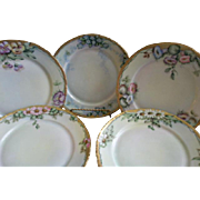 Set of 5 Rosenthal & Co. Hand Painted Salad/Dessert Plates w/Floral Motifs - Each Different -
