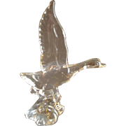 "Heisey Crystal ""Mallard Duck - Wings Up"" Figurine - Unmarked"