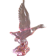 """Heisey by Dalzell-Viking Lavender Ice 'Mallard Duck - Wings Up"""" Crystal Figurine - Marked D - HCA - 93"""