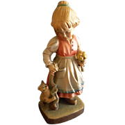 """Hans & Adolf Heinzeller Wood Carving of """"Young Bavarian Peasant Girl With Her Pet Cat"""""""