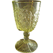 EAPG - Daisy and Button w/Thumbprint Panel Goblet - Vaseline Glass