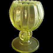 Westmoreland Glass 'Beaded Panel' Design Opalescent Vaseline Rose Bowl