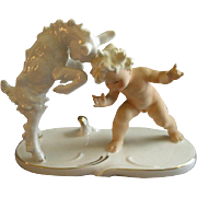 "Wallendorf Schaubach Kunst - Goebel - Porcelain ""Nude Child With Young Goat"" Figurin"