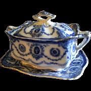 "T Rathbone & Co., Flow Blue ""Princess"" Pattern Sauce/Gravy Tureen & Tray"