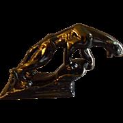 "Royal Haeger Mid-Century Ebony ""Panther Standing on Rock Ledge"" Figurine"