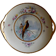 "Pickard Studio Hand Painted ""Golden Pheasant"" Pattern Handled Cake Plate -  Signed E"
