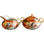 Meiji Period Japanese Satsuma Porcelain Hand Painted. Gold & Moriage Sugar & Creamer Set