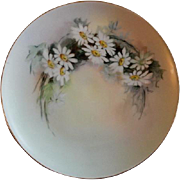 Home Studio Hand Painted Cabinet Plate w/White Daises Motif - Artist Signed