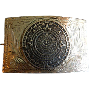 "La Esperanza Mexican Sterling Silver ""Aztec Sun Stone/Maya Calendar"" Belt Buckle"