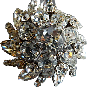 Austrian Silver-Tone & Diamond Rhinestone Dome-Shaped Brooch
